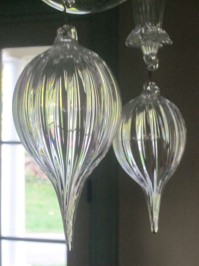 Mid-20th Century Clear Murano Glass Chandelier By Carlo Scarpa For Venini
