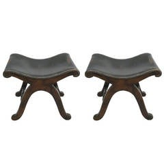 Pair of Studded Leather Benches / Stools by Pierre Lottier