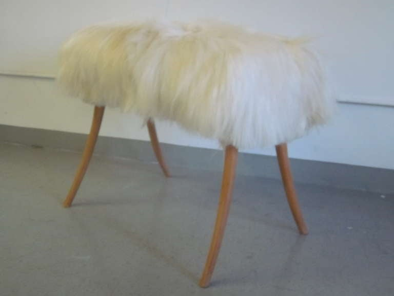 Pair of Long Hair Goatskin Benches 2