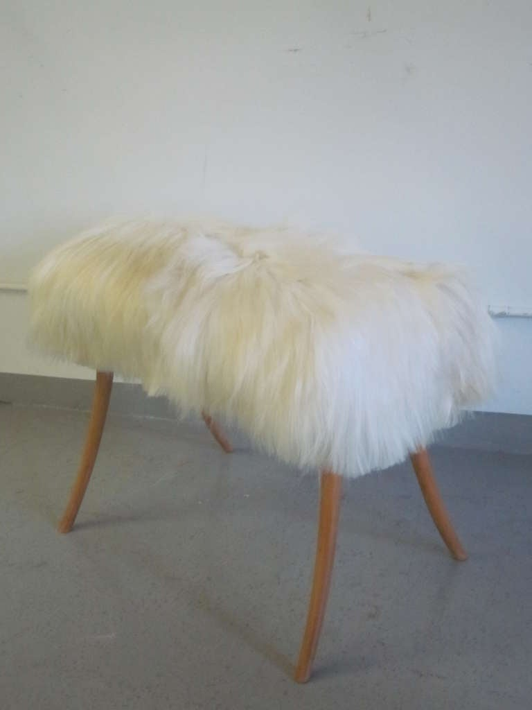 Pair of Long Hair Goatskin Benches 5