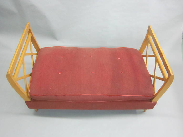Upholstery French Mid-Century Modern Neoclassical Sofa or Day Bed Attributed Jean Royère For Sale