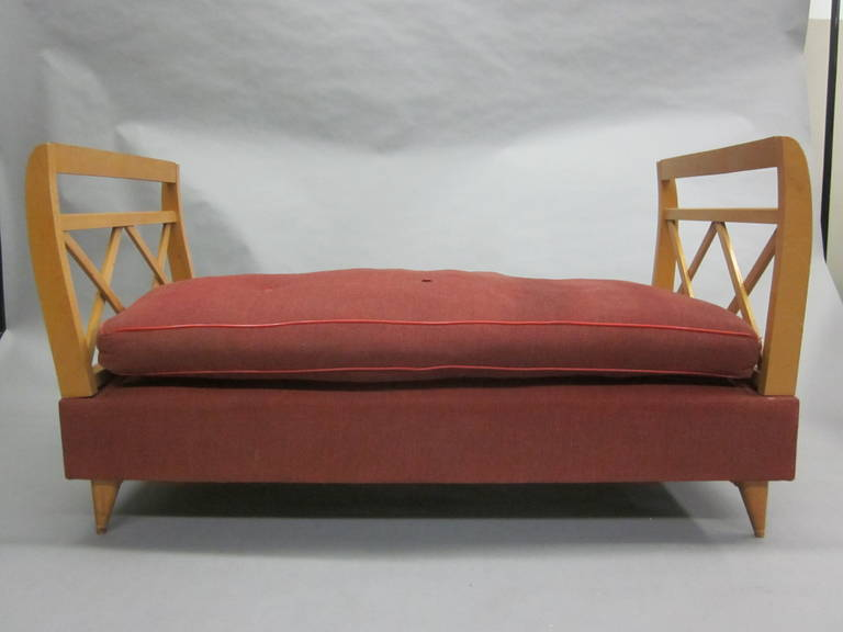 French 1940s sofa, settee, chaise lounge or daybed in the modern neoclassical spirit and attributed to Jean Royère with X-frame design head and foot boards that rotate up and down providing multiple use. Made of French Sycamore wood.   The total