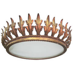 French Modern Neoclassical Gilt Iron Sunburst Flush Mount or Pendant