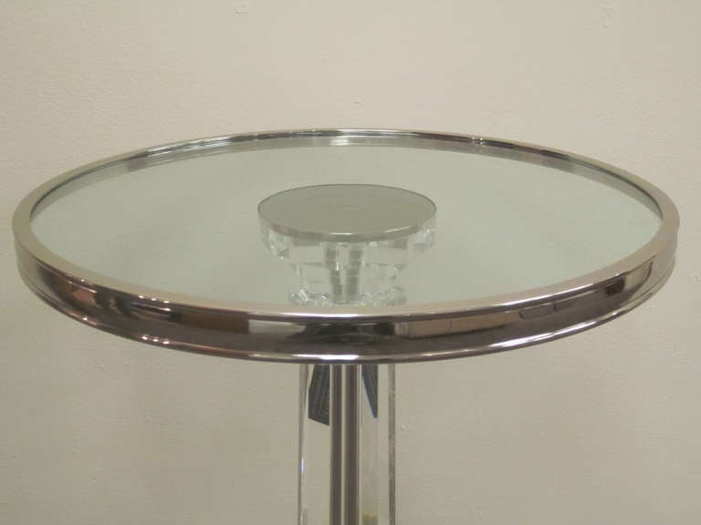 2 French Mid-Century Modern Style Solid Crystal & Nickel Side Tables, Baccarat  For Sale 1