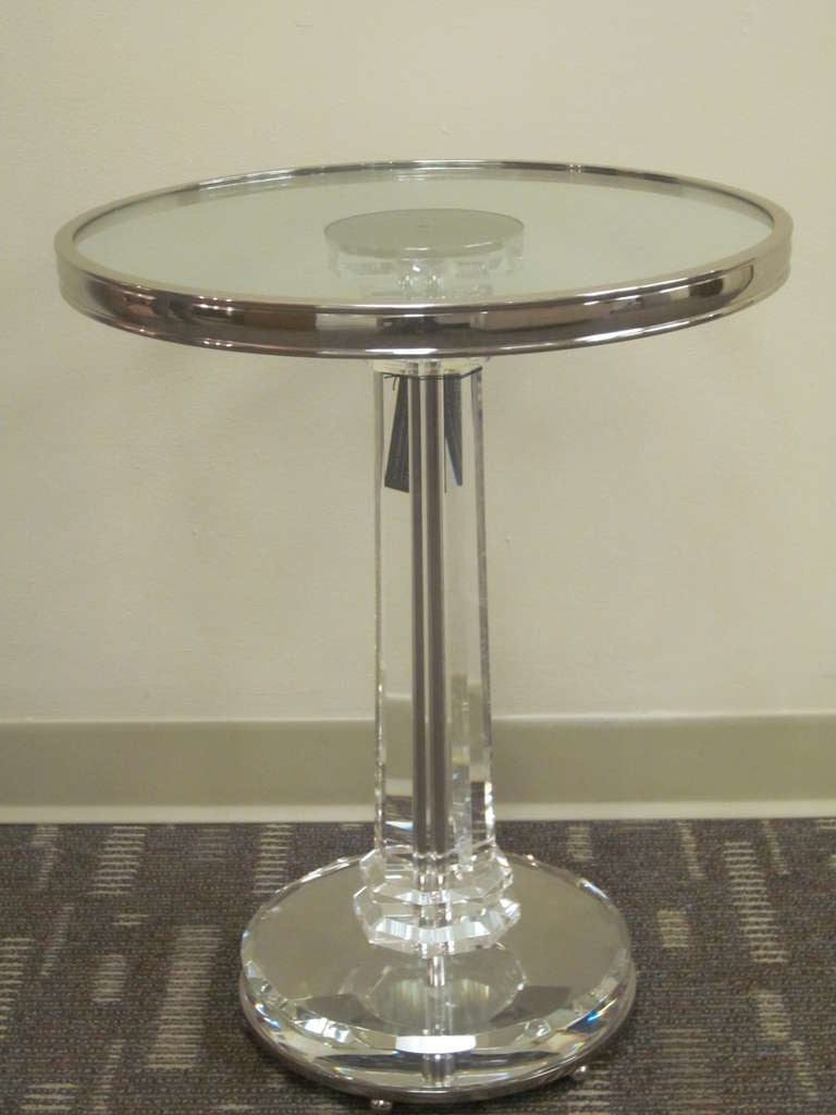 2 French Mid-Century Modern Style Solid Crystal & Nickel Side Tables, Baccarat  In Excellent Condition For Sale In New York, NY