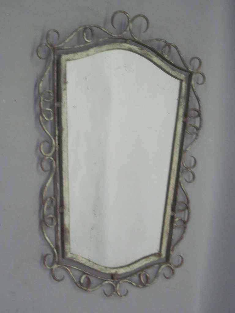 French 40 39 s wrought iron mirror attributed to rene drouet for Wrought iron mirror