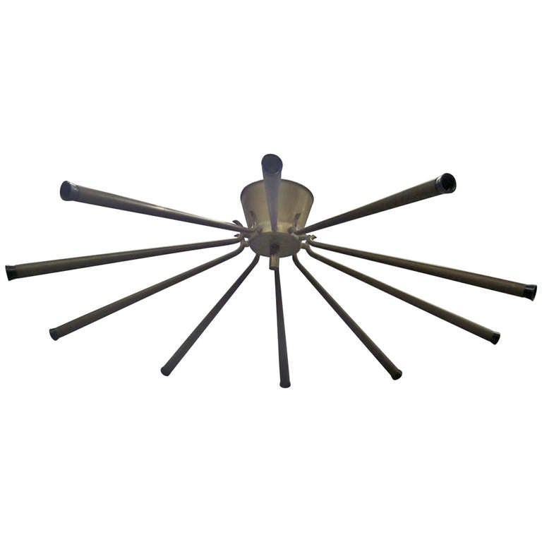 Large Italian Mid-Century Modern Bronze /Brass Flush Mount Chandelier, Stilnovo