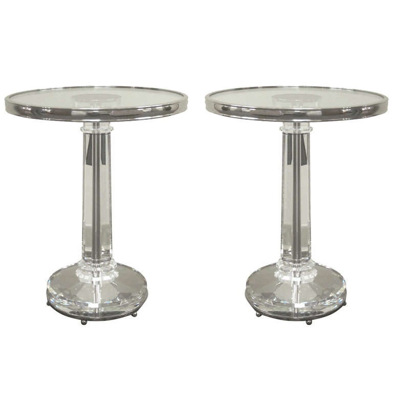 Two Solid Crystal and Nickeled Side Tables in the Style of Fontana Arte 1