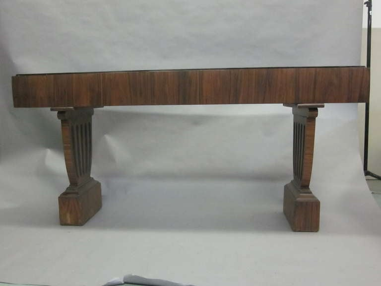 Large French Mid-Century Modern Neoclassical Wood Console / Sofa Table In Good Condition For Sale In New York, NY