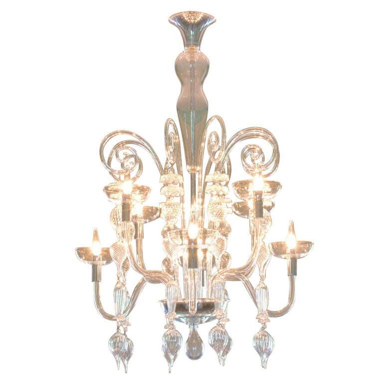 Clear Murano Glass Chandelier By Carlo Scarpa For Venini