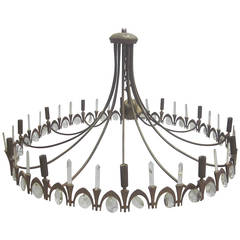 Italian Gilt Bronze & Crystal Chandelier Attr. Pietro Chiesa  for Fontana Arte