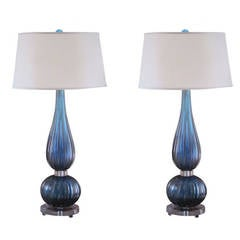 2 Pairs of Large Aqua Murano / Venetian Glass Table Lamps Attributed to Barovier