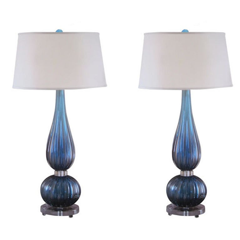 2 Pairs of Large Aqua Murano / Venetian Glass Table Lamps Attributed to Barovier For Sale