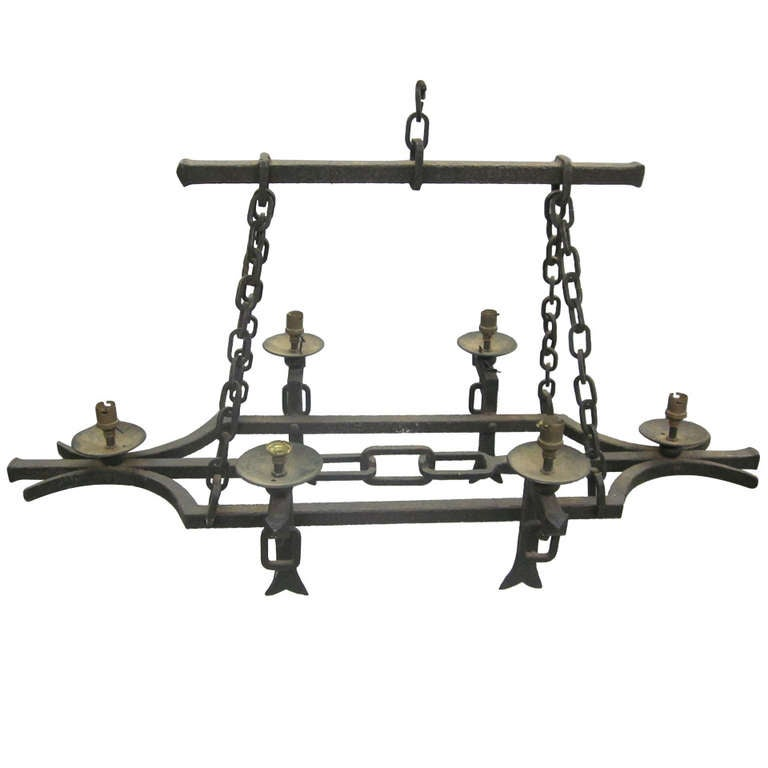 Hand-Hammered French Mid-Century Wrought Iron Chandelier, 1940