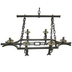 Hand-Hammered French, 1940s Wrought Iron Chandelier