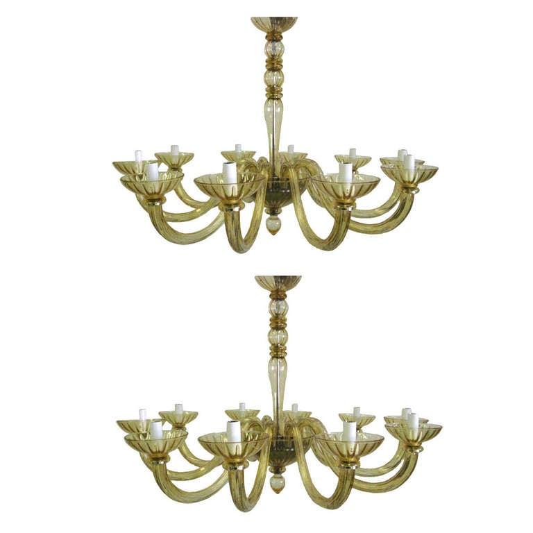 2 Italian Mid-Century Modern Amber Murano  Venetian Glass Chandelier, Venini Sty