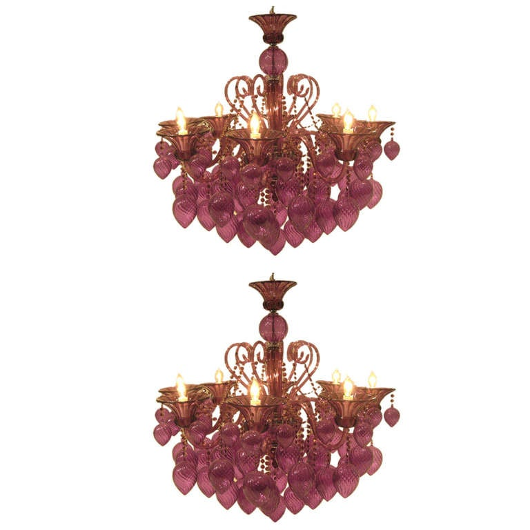 Pair of Italian Mid-Century Style Murano Glass Chandeliers For Sale