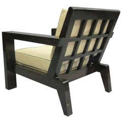 French Mid-Century Grid-Back Armchair Attributed to Rene Gabriel