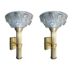 Pair of Large French Mid-Century Modern Torch Sconces Attributed to René Lalique