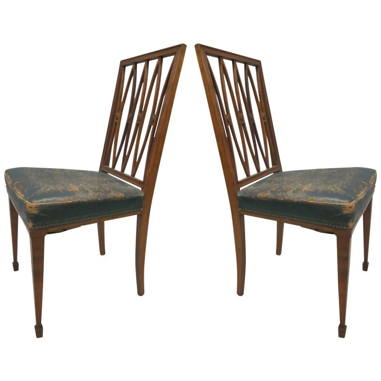 2 French Modern Neoclassical Desk Chairs / Side Chairs, Attributed Andre Arbus 1