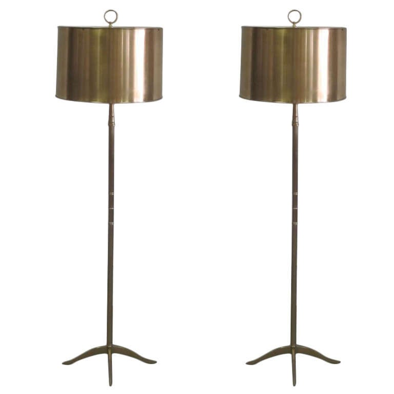 Pair French Mid-Century Modern Style Nickel Floor Lamps, Style Maison Charles For Sale