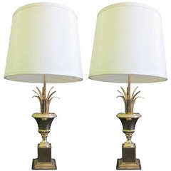 Pair French Mid-Century Brass Pineapple Frond Table Lamps Attr. Maison Charles