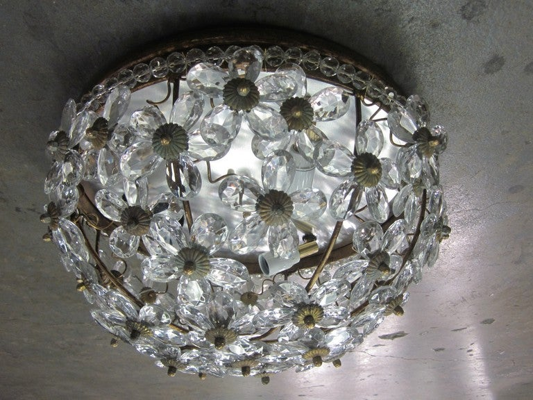 Romantic Two Italian Mid-Century Style Solid Crystal Floral Ceiling Flush Mount Fixtures For Sale