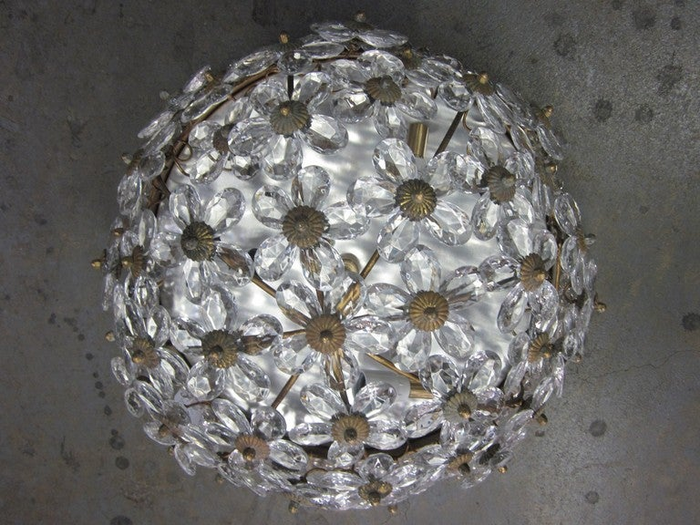 Two Italian Mid-Century Style Solid Crystal Floral Ceiling Flush Mount Fixtures In Excellent Condition For Sale In New York, NY