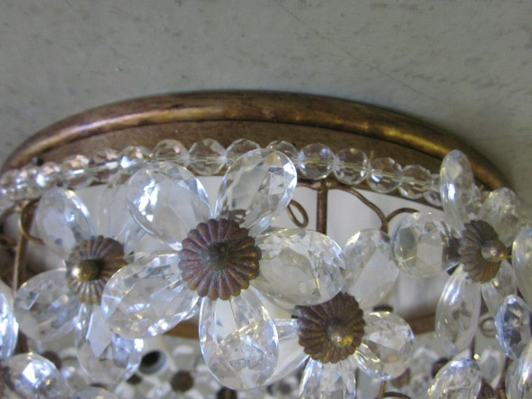 20th Century Two Italian Mid-Century Style Solid Crystal Floral Ceiling Flush Mount Fixtures For Sale