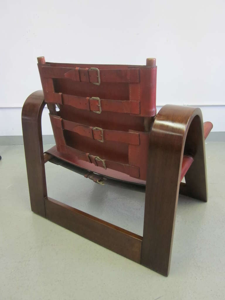 Danish Modern Leather Strap Chair Attributed To Borge