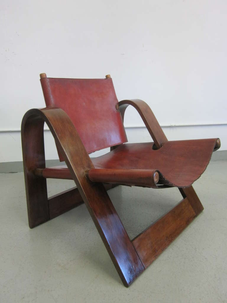danish modern leather strap chair attributed to borge. Black Bedroom Furniture Sets. Home Design Ideas