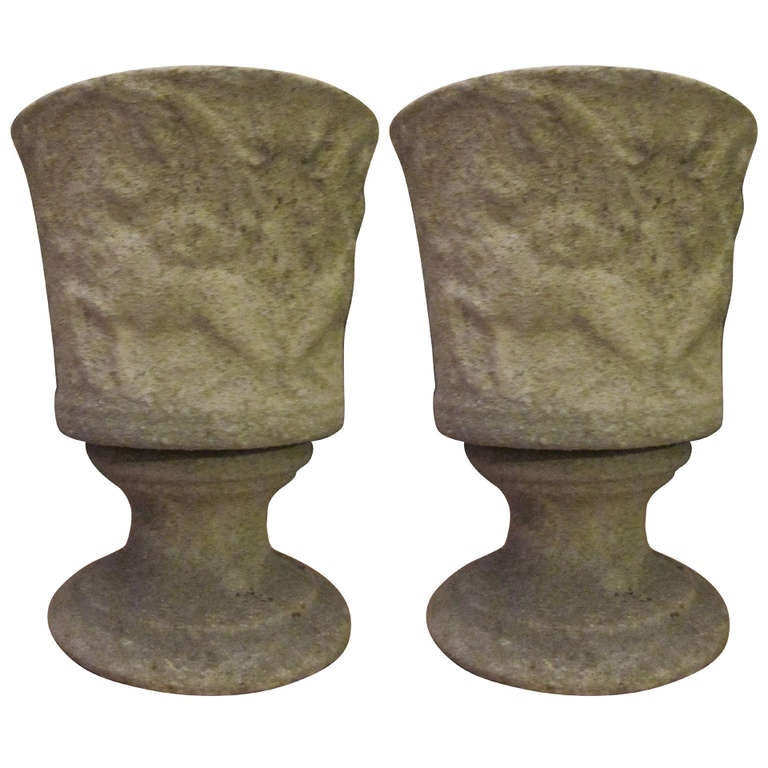 Pair of French Mid-Century Modern Lighted Stone Urns / Table Lamps