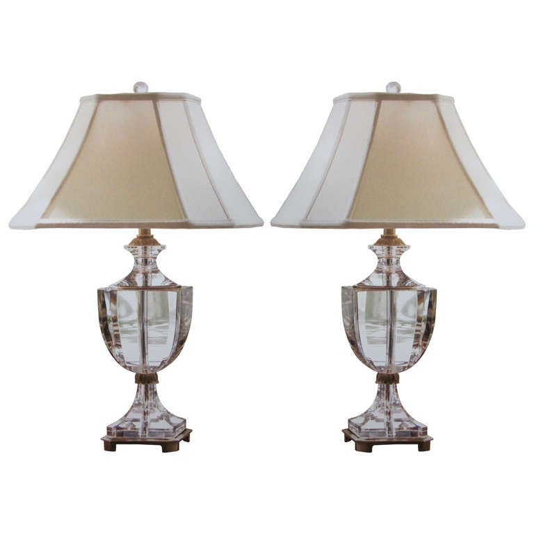 of modern neoclassical solid crystal table lamps for sale at 1stdibs. Black Bedroom Furniture Sets. Home Design Ideas