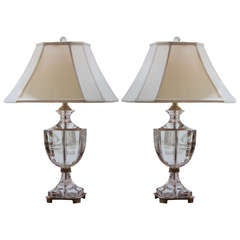 Pair of Italian Modern Neoclassical Solid Crystal and Brass Table Lamps