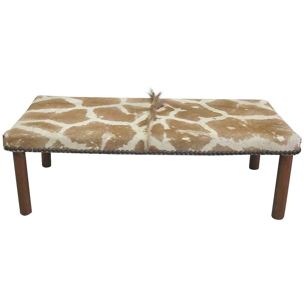 Sober French Mid-Century Modern Bench Covered in Giraffe Skin
