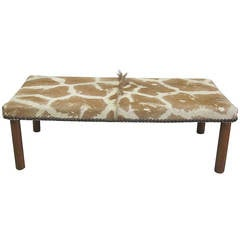 Sober French Mid-Century Modern Bench Covered in Giraffe Skin
