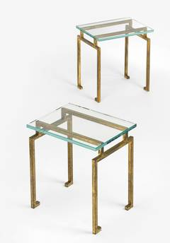 Pair of French Gilt Iron Side Tables in the Style of Maison Ramsay