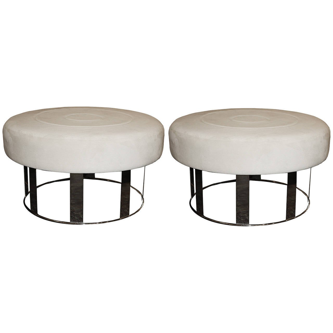 Pair of Nickel-Plated Ottomans For Sale