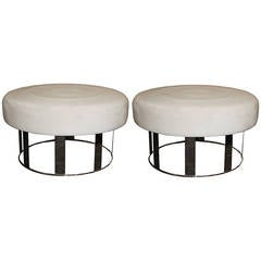Pair of Nickel-Plated Ottomans