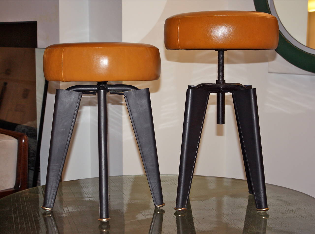 Pair of Piano Stools by Dominique for the Clemenceau Aircraft Carrier 5