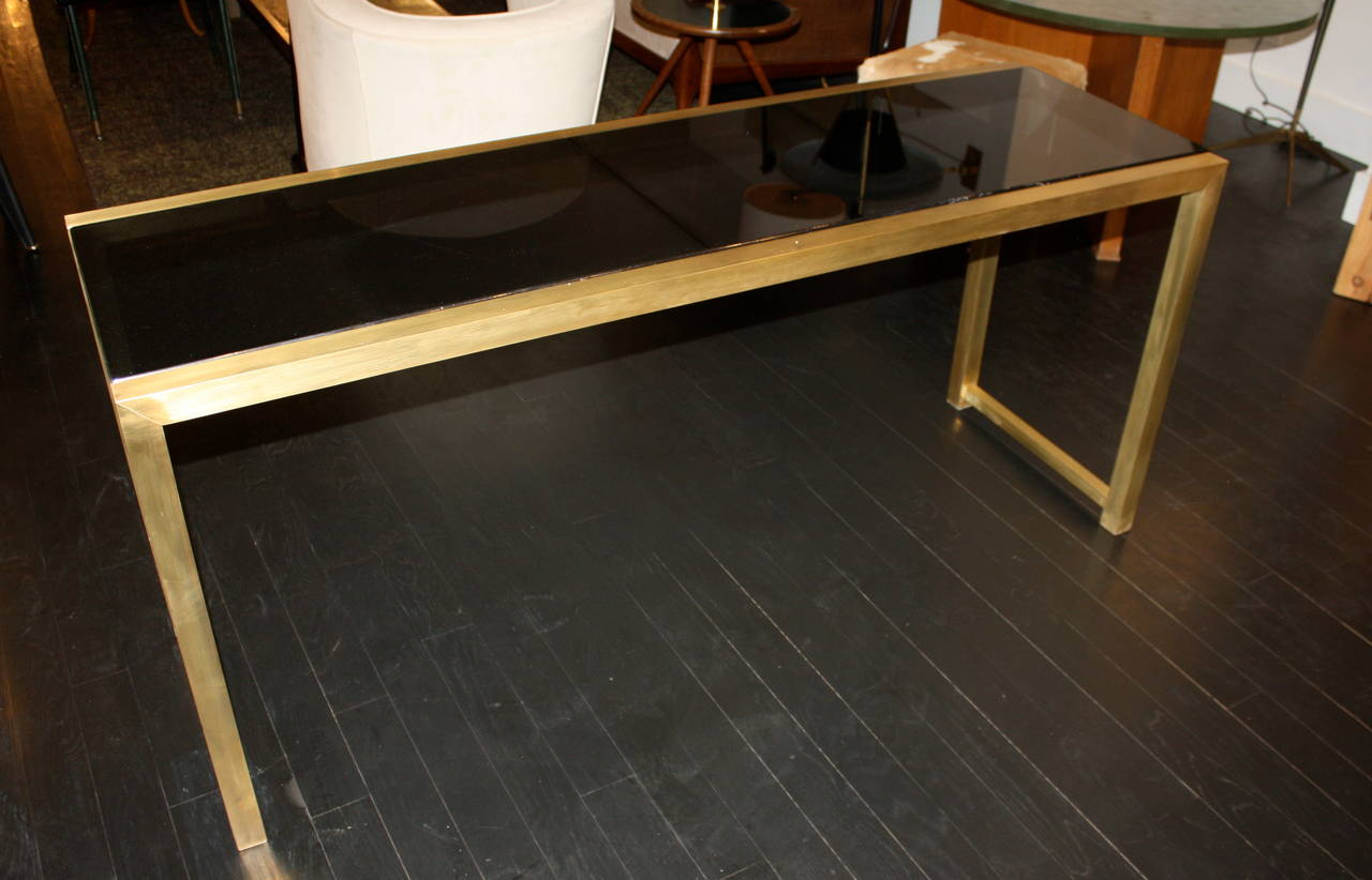 French Brass Console Table In Excellent Condition For Sale In New York, NY