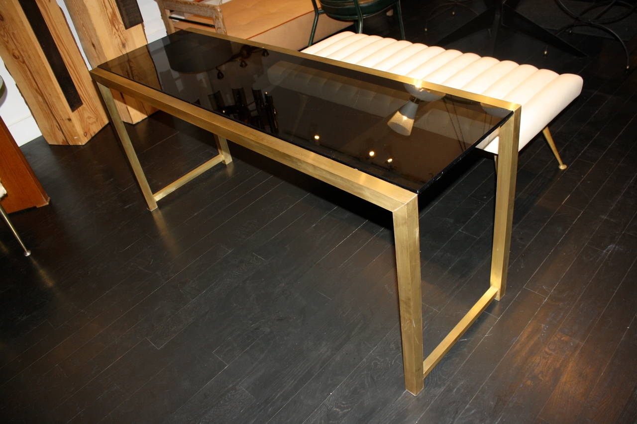 French Brass Console Table For Sale 1