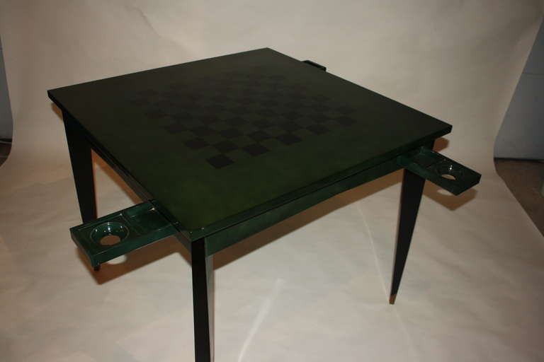 Raphael Raffel Emerald Lacquered Game Table For Sale at 1stdibs