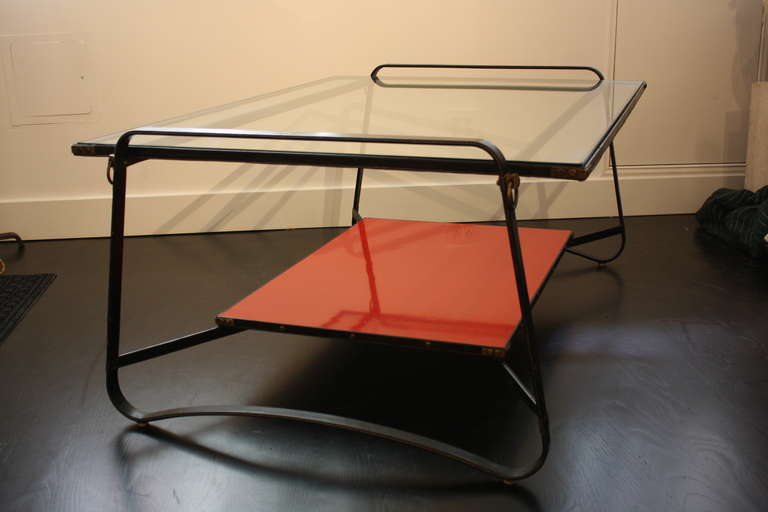Jacques Adnet Two Tiered Table In Good Condition For Sale In New York, NY