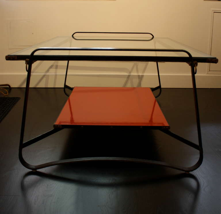 French Jacques Adnet Two Tiered Table For Sale