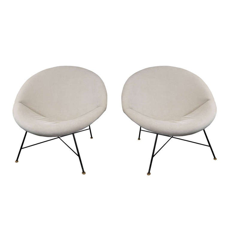 Pair of Large Crescent Chairs For Sale