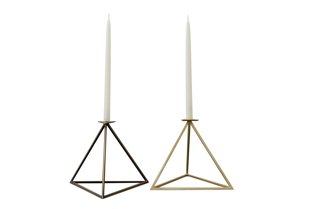 Handmade raw brass silver soldered candle stand by Aaron Silverstein (1973).