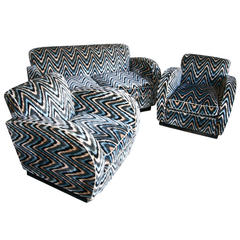 Pair of Lounge Chairs with Settee
