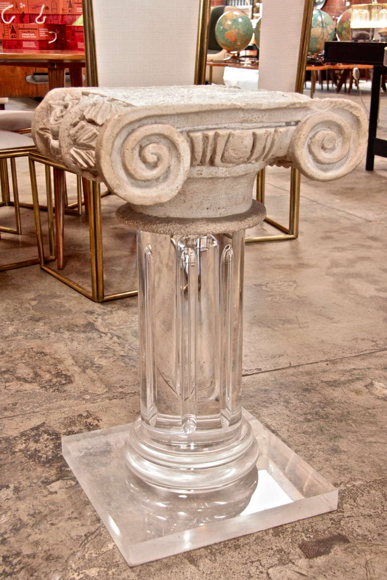 18th century granite top column with 1970s plexi base.