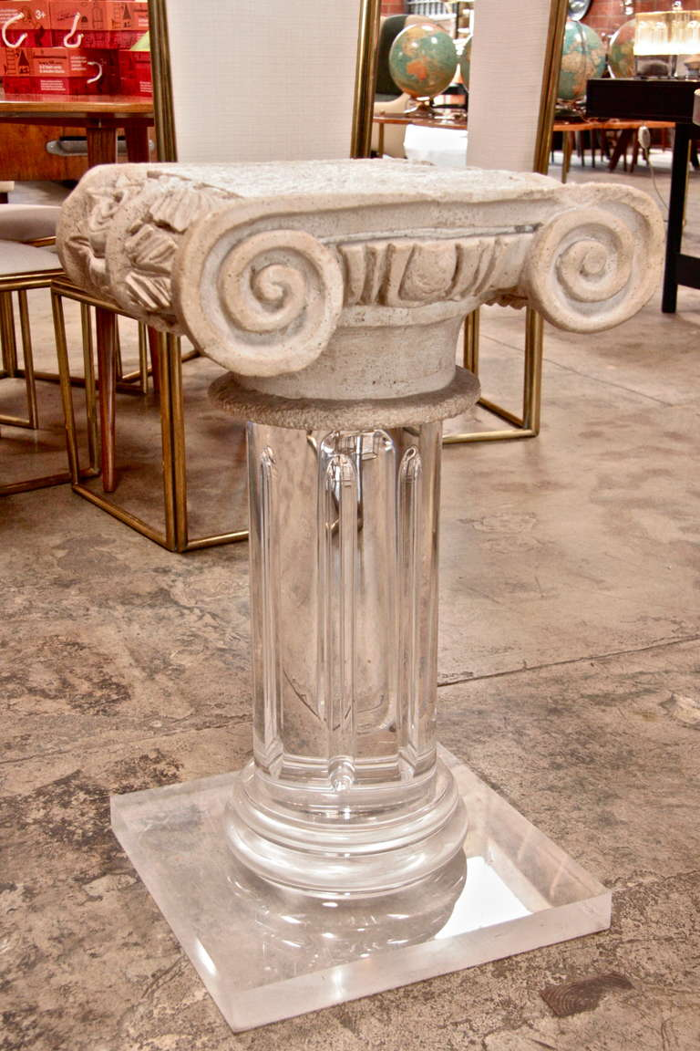 Italian 18th Century Granite Top Column with Plexi Base For Sale